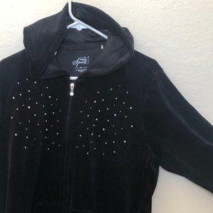 Style & Co Sport Black Crystal Stud Velour